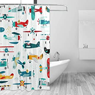 LUCASE LEMON ALEX Cartoon Airplane Helicopter Shower Curtain Set for Home Decor Polyester Waterproof Fabric Bathroom Accessories with 12 Hooks, 60