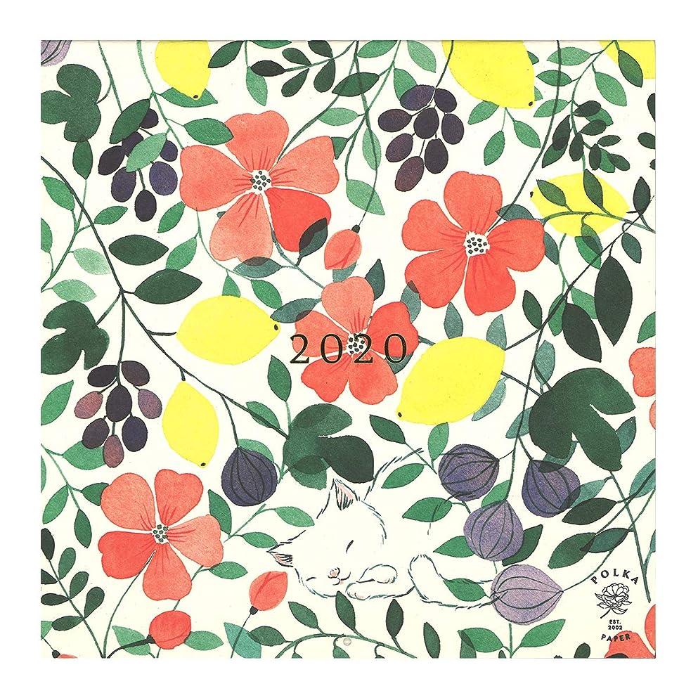 可動式ハッチ内部Putinki プティンキ 壁掛けカレンダー 2020年 (Polka Paper ポルカ?ペーパー / 30×30cm)