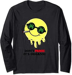 Don't Panic It's Organic Funny Acid Smiley Face Design Long Sleeve T-Shirt