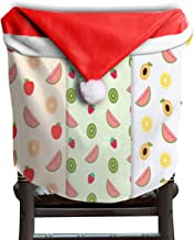 Ladninag Christmas Santa Claus Chair Back Cover Fruit World Xmas Red Hat Cat Chairs Slipcovers for Kitchen Dinner Table Party Home Decor Room Holiday Festive Set of 6
