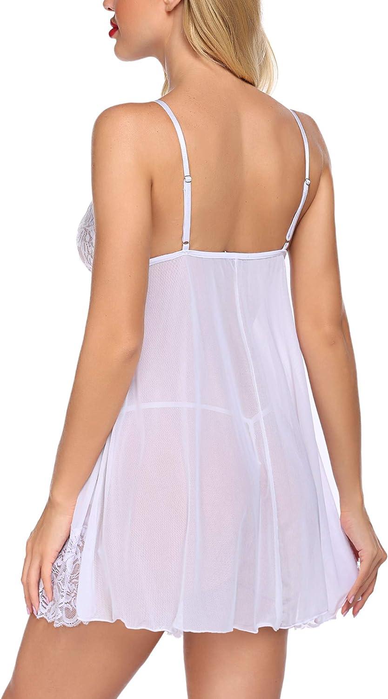 Avidlove Women Lace Babydoll Lingerie Cross Strap Mesh Chemise Sexy V Neck Sleepwear