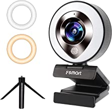FSMART 1080P Streaming Webcam with Microphone for Desktop, Web Camera with Ring Light, Plug and Play Webcams,Privacy Prote...