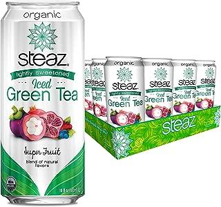 Steaz Organic Iced Green Tea, Lightly Sweetened, 16 OZ, Pack of 12 (Superfruit)