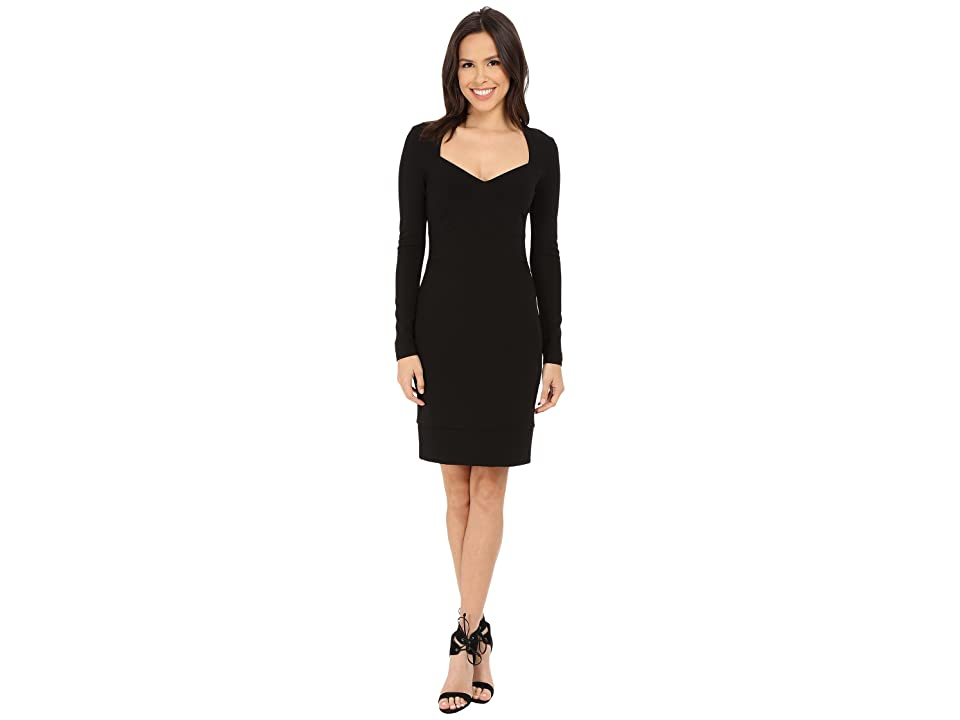Nicole Miller Zarita Open Neck Long Sleeve Cocktail Dress (Black) Women