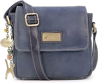 Catwalk Collection Handbags - Ladies Small Distressed Leather Cross Body Bag - Women's Messenger Organiser Work Bag - iPhone/Smartphone - SABINE S