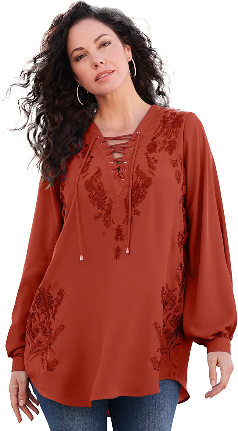 Roamans Women's Plus Size Embroidered Lace-Up Tunic Long Shirt Blouse