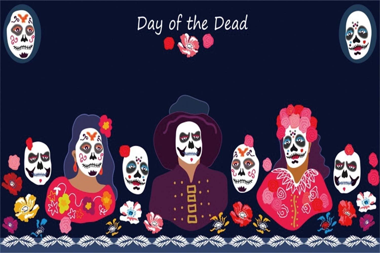 Leowefowa 20x10ft Day of The Dead Backdrop Dia De Los Muertos Photography Background Cartoon Dressed Up People Among Skulls Flowers Fiesta Costume Party Decoration Supplies Wallpaper Studio