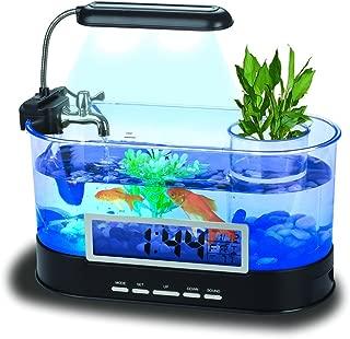 QTMY Mini Desktop Aquariums Fish Tank with LED Light Pen Holder Alarm Clock Office Decoration