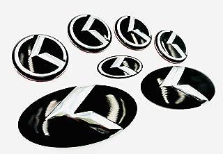 Full 7pc Metal Skin K Emblem Badge Overlay for NIRO 2016-2021 Gloss Black/Chrome K (Loden) Cover & Protect KIA Badges in Seconds! Easy Install!