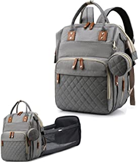 Diaper Bag Backpack,Baby Bag for Boys & Girls Diaper Bags Tote for Mom and Dad Travel Foldable Baby Bed Nappy Backpack wit...