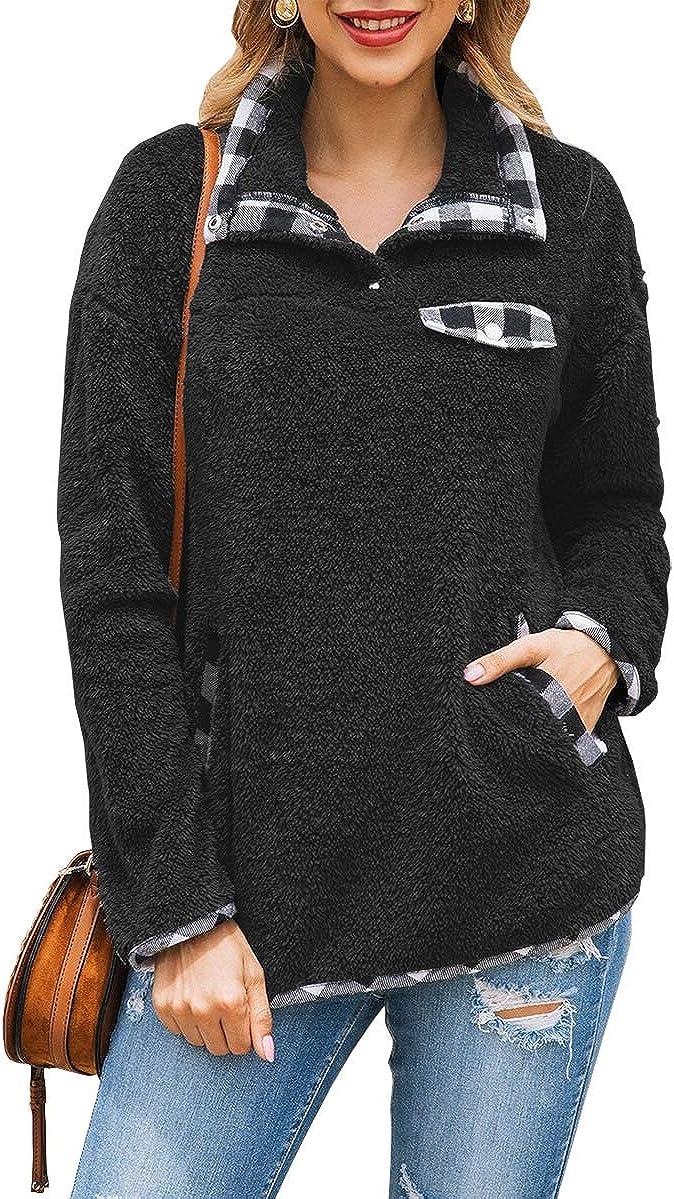 KIRUNDO Women's Fashion High Collar Long Sleeves Sweaters Plaid Print Fleece Button Down Short Sweatshirts with Pockets