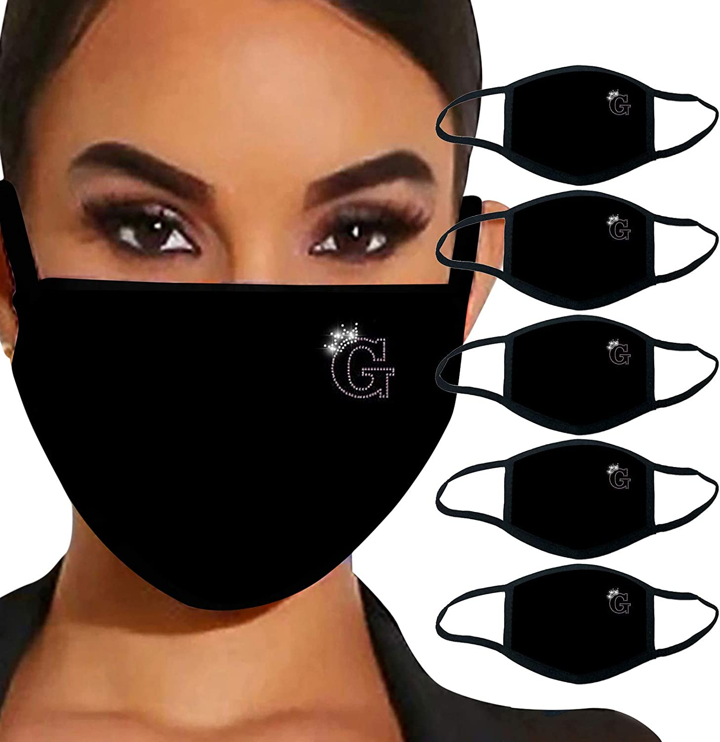 5PCS Adult Christmas Printed Reusable Washable Neck Gaiter Outdoor Face Covering Elastic Ear Loop Face Bandanas