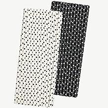 شفاطات ورقية باللونين الأبيض والأسود - نقاط بولكا - 19.7 سم - 50 قطعة