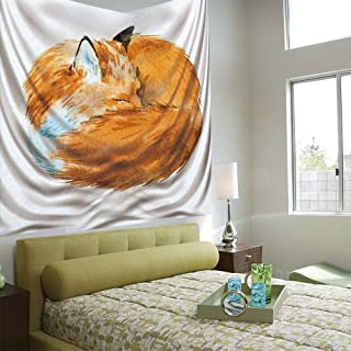Fashionable Personality Tapestry Home Decoration Background Elastic Living Room,Animal Decor,Cute Fox Sleeping Deep Funny Creature Kids Nursery Watercolor Art Design,Apricot White