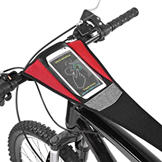 Alomejor Road Bike Sweat Guard with Phone Pouch Road Bike Bicycle Trainer Sweatbands Sports Cycling Riding Sweat Tape Band for Bicycle Trainer Indoor Cycling Training