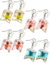 Sale 3 Pairs Fish Earrings,Amazonite Fish Earrings,Mookite Jasper Fish Earrings,29x23x4mm,31x26x4mm,29g n0863