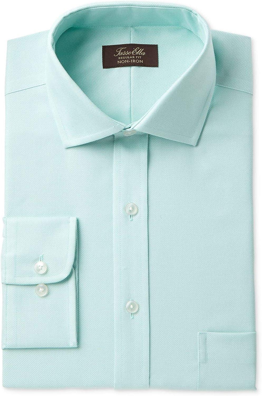 Tasso Elba Mens Non Iron Oxford Button Up Dress Shirt Mint 15.5