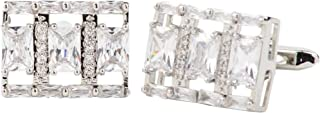 أزرار أكمام Vittorio Vico ثلاثية من الكريستال الشفاف مرصع بقطع مدورة من Classy Cufflinks