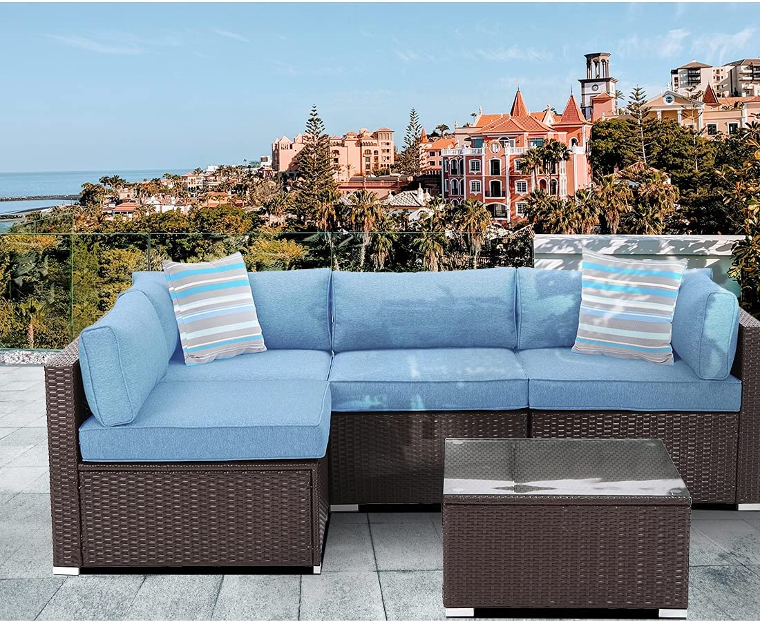 HOMPUS Max 85% OFF Outdoor 5 Super sale period limited Pieces Patio Set All-Weather Sofa Br Chocolate
