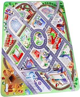 Baibu Home プレイマット ラグ 100х150 子供 せんろ きどう 道路 列車 汽車 洗える 面白い キッズマット 子供部屋 優しいフランネル
