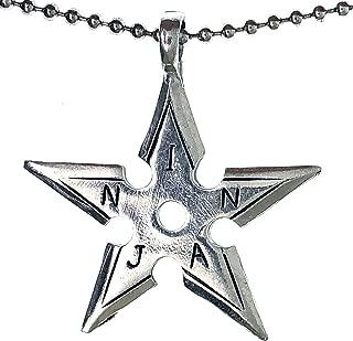 Ninja Shuriken Throwing Star Japanese Ninjitsu Charm Pewter Pendant Necklace