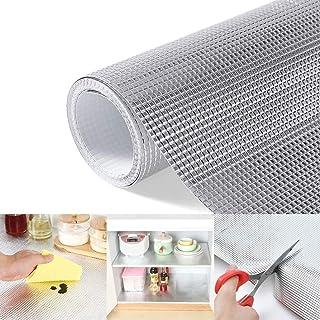 食器棚シート 裁断可能引き出しマット EVA アルミフィルムシルバー 耐熱60度 食器 シート 防汚、滑り止め、防湿、防油、除湿 、家具を保護しキッチン用、安心の品質 45*200cm シルバー