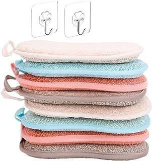 ZITFRI 8 Pcs Eponge Vaisselle Lavable Reutilisable Eponge a Recurer en Microfibre pour Nettoyer Poêlons Poêles Pots avec 2...