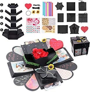 Kicpot Creative Explosion Gift Box, Love Memory DIY Photo Album as Birthday Gift and Surprise Box About Love Opend with 14``x14``(Black)