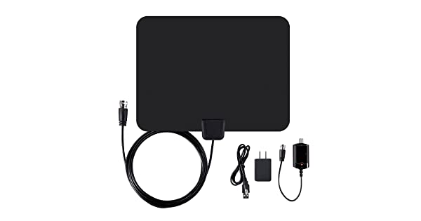 Ematic EDT201ANT Ultra-Thin Indoor HDTV Antenna with Amplifier 50-Mile Range Black