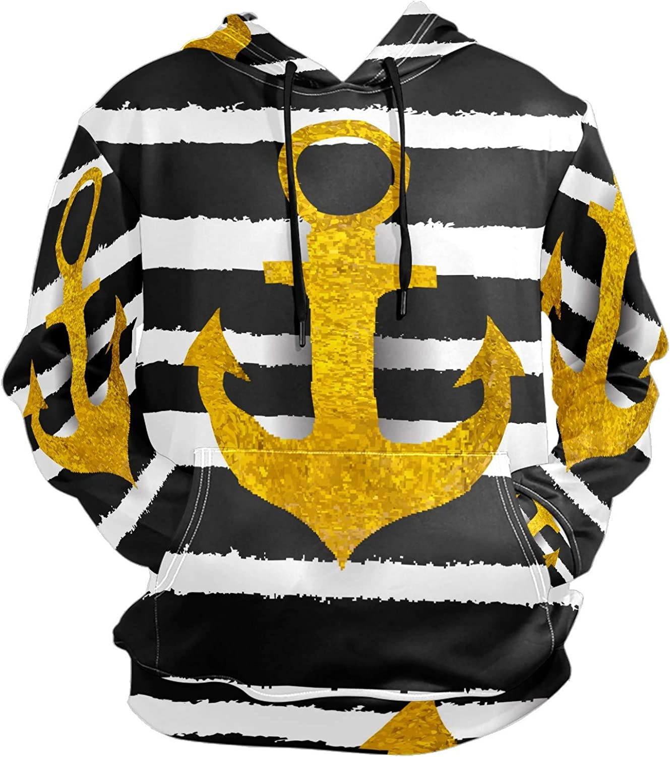 Men's Sport Hoodie Nautical Golden Anchorblack Striped Big and Tall Hoodies for Men Women Oversized Hooded Sweatshirt Hip Hop Pullover Hoodie Midweight Hood for Boys Girls