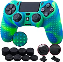 9CDeer 1 Piece of Silicone Studded Dots Protective Sleeve Case Cover Skin + 8 Thumb Grips Analog Caps + 2 dust proof plugs for PS4/Slim/Pro Dualshock 4 Controller, Blue Green