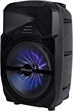 """$147 » Billboard 12"""" Rechargeable Bluetooth Party Speaker w/RGB Lighting, AUX, TF, USB, FM Radio Playback, Wheel and Handle Combo..."""