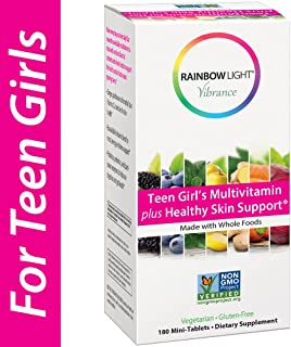 Rainbow Light Vibrance Teen Girl's Multivitamin Plus Healthy Skin Support,Dietary Supplement Made with Whole Foods,180 Cou...