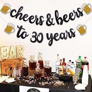 Levfla Cheers & Beers to 30 Years Black Glitter Banner,Party Supplies Decorations for 30th Birthday Wedding Anniversary - PRESTRUNG & Ready to Hang