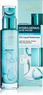 L'Oréal Paris Hydra Genius Aloe Water & Hyaluronic Acid 72H Liquid Moisturizer, Normal to Dry Skin, 70 ml