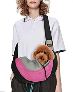 Acecharming Pet Sling/Dog Cat Sling Carrier for Cats Dogs Bunny, Up to 13 lbs/Extra Safety Outdoor Travel Oxford Single Shoulder Bag Sling