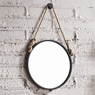 Qing MEI Simple Nordic Wrought Iron Wall Hanging Round Mirror Retro Industrial Wind Wall Decorative Hemp Hanging Mirror Bathroom Bathroom Vanity Mirror (Size : 50CM)