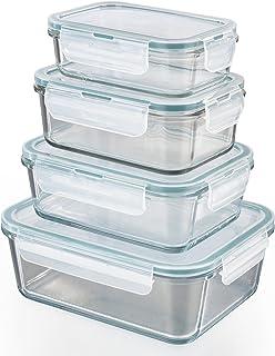 comprar comparacion GOURMETmaxx Set de 4 contenedores de Alimentos de Vidrio, Incluyendo la Tapa | Cierre cuádruple y Sello de Silicona conser...
