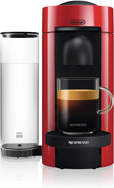 Nespresso greenuoPlus Coffee and Espresso Maker by De'Longhi, Red