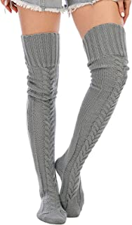 SherryDC Women's Cable Knit Thigh High Socks Winter Over the Knee High Boot Stockings Leg Warmers