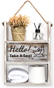 Emibele Bathroom Decor Hanging Shelf, Farmhouse Rustic Wooden Floating Storage Holder Funny Sayings for Bathroom Shower Tub Living Room, Toilet Paper Bottles Diaper Holder Storage, Take A Seat, White