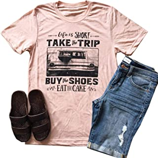 TTMOW Women's Novelty Life is Short,Take The Trip Letter Printed Round Neck Short Sleeve Casual Tee T Shirt