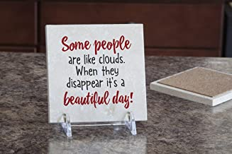 product image for Imagine Design Relatively Funny Some People are Like Clouds. Travertine Coaster, Red/Black/White