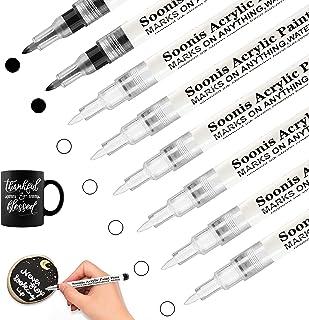 Stylos de peinture acrylique noir et blanc pour roche, bois, tissu, verre, toile, 8Pack (6 blancs 2 noirs) 0.7 mm extra-fi...