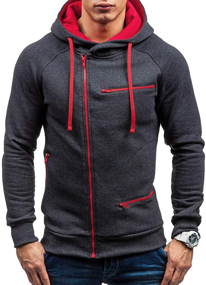 Qsctys Men's Fashion Hoodies & Sweatshirts - Solid Slim Fit Zip Up Causal Jacket Athletic Pullover Hooded Big and Tall