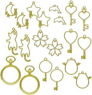 レジン枠 空枠 フレーム ゴールド 10種20個 大量 セット カン付き 懐中時計 丸 ハート イルカ 鍵 星月 ネコ セッティング アクセサリーパーツ
