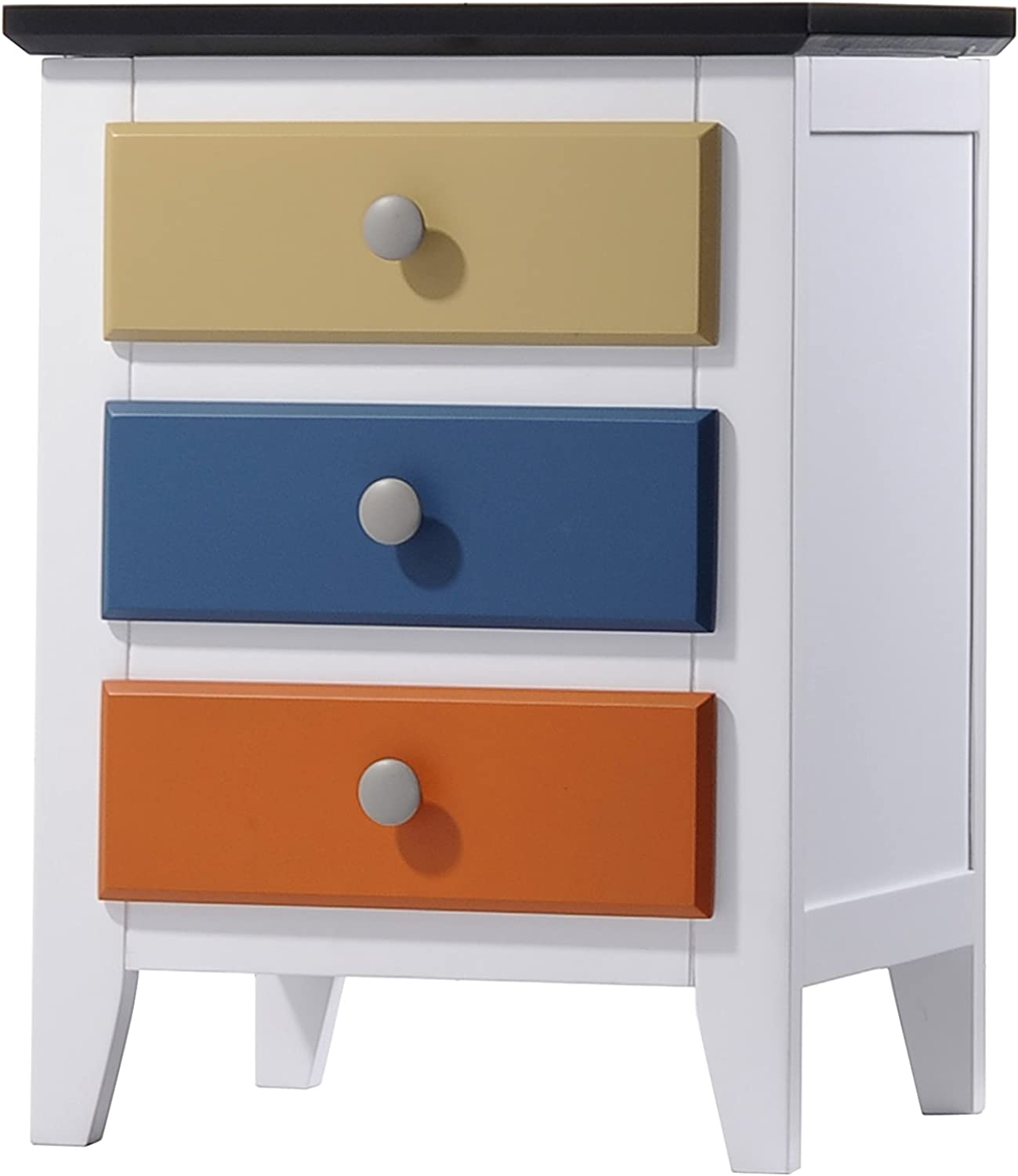 Acme Furniture 25457 Brooklet Nightstand, White & Multicolor