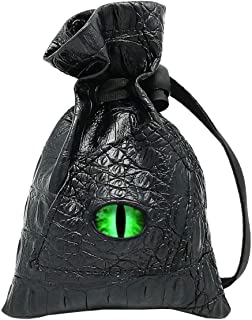 Haxtec Dice Bag Drawstring Leather DND Dice Storage Pouch for D&D Roleplaying Games Dices, Coins and Accessories (Venom-Gr...