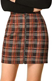Allegra K Women's Check Zip Up Slim Fit Plaid Mini Skirt