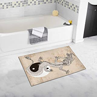 INTERESTPRINT Asian Art Chinese Dragon Taichi Bath Rug Non-Slip Bathroom Mat 20 W X 32 L Inches